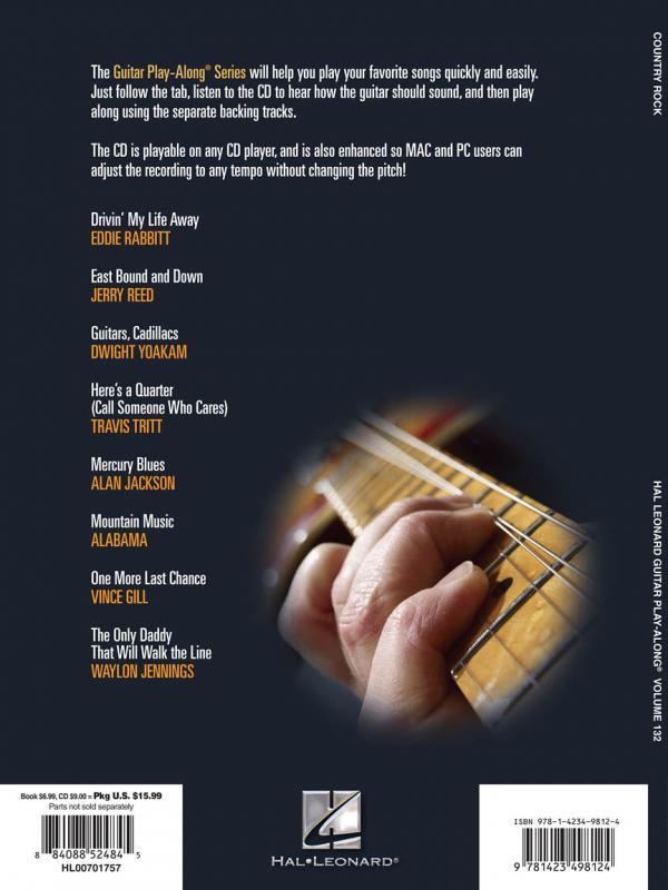 country rock play along volume 132 mountain music libro basi cd tablature spartiti chitarra. Black Bedroom Furniture Sets. Home Design Ideas