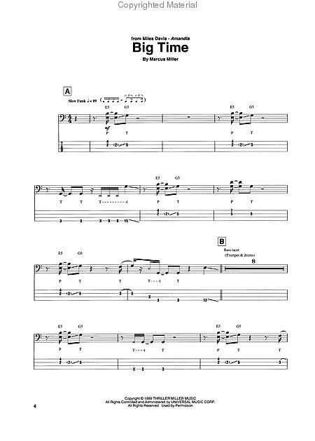 marcus miller best of bass recorded versions tablature